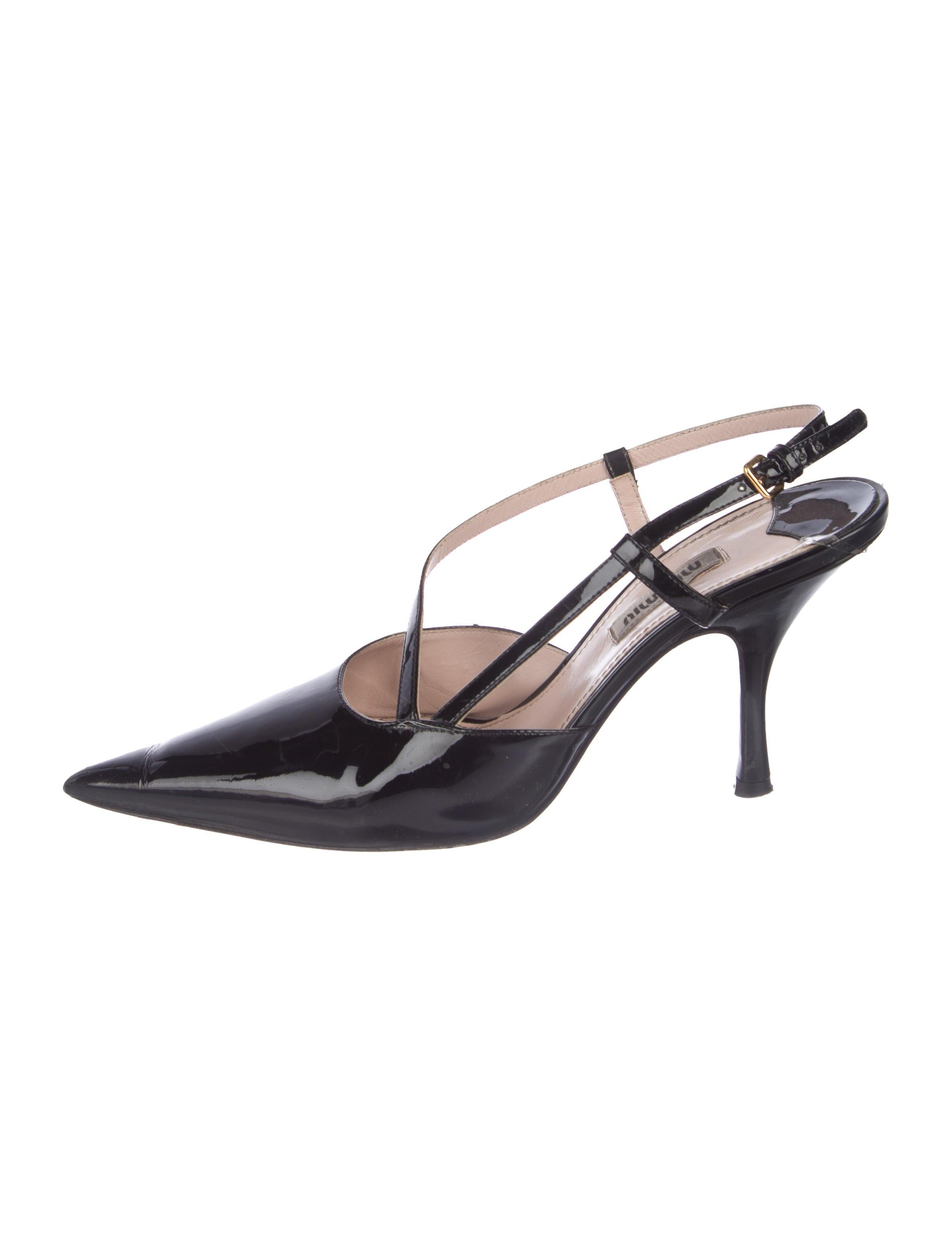 4716d64961b1 Miu Miu Patent Leather Slingback Pumps - Shoes - MIU71814