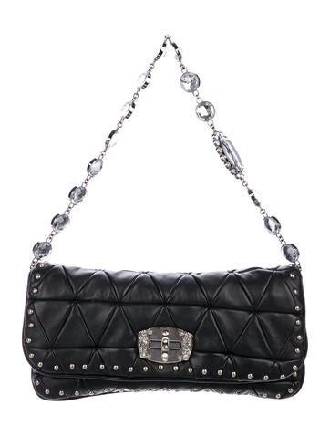 1341cf6f015 Matelassé Nappa Leather Crystal Shoulder Bag.  595.00 · Miu Miu