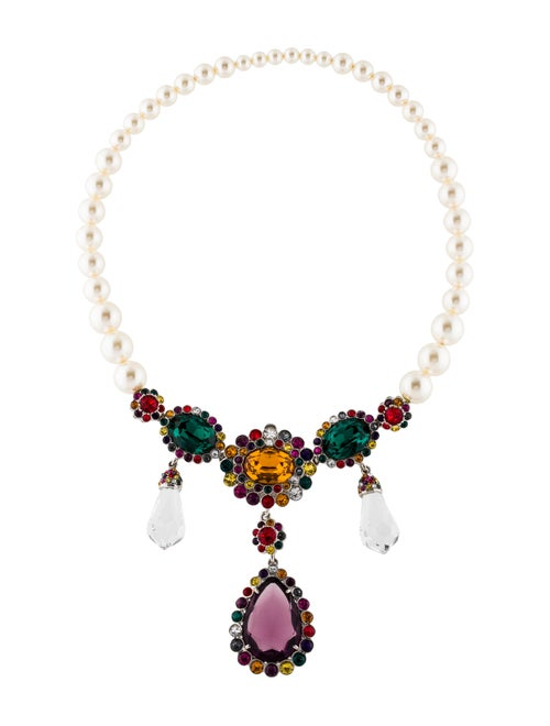 d2ac2d5e94459 Miu Miu Faux Pearl   Crystal Embellished Collar Necklace - Necklaces ...