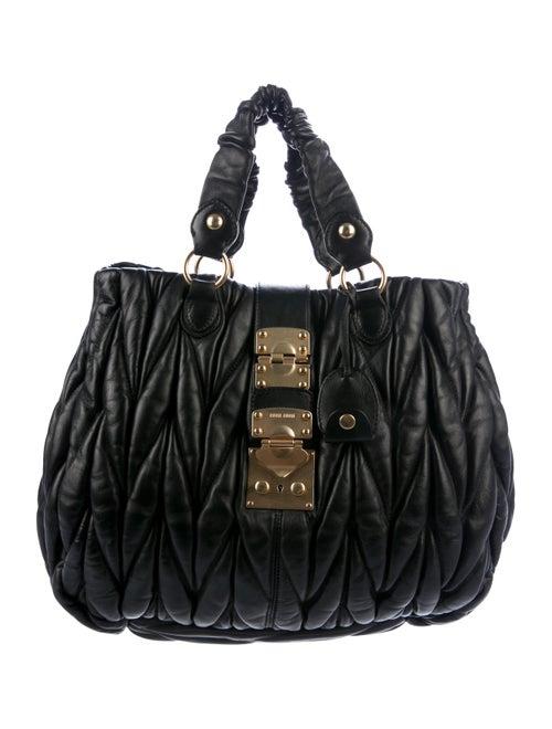 Miu Miu Matelassé Pleated Leather Tote - Handbags - MIU78172  2b1ae4e6a59e5