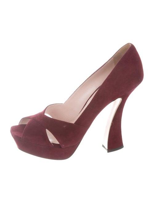 8d41ad47a199 Miu Miu Suede Peep-Toe Pumps - Shoes - MIU79105