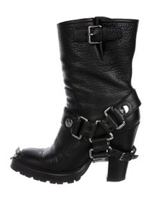 e118679cb0b3 Miu Miu. Leather Mid-Calf Boots. Size  US ...