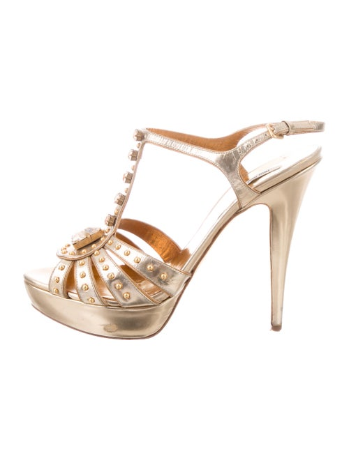 0956c3e3eb02 Miu Miu Metallic Leather Ankle Strap Sandals - Shoes - MIU79814 ...