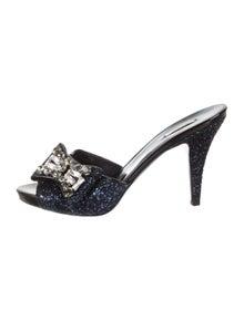 6ffef85008 Miu Miu. Glitter Slide Sandals