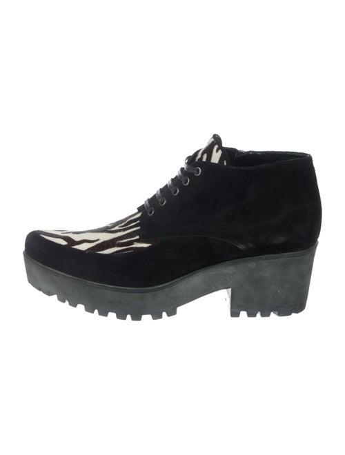 Miu Miu Suede Zebra Boots Black