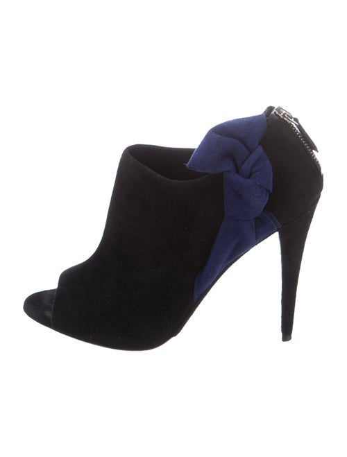 Miu Miu Bow-Accented Suede Booties Black
