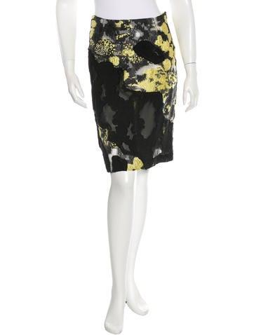 Michael Van Der Ham Jacquard & Lace Patchwork Skirt