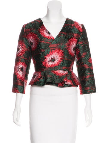 Michael Van Der Ham Brocade Peplum Top None