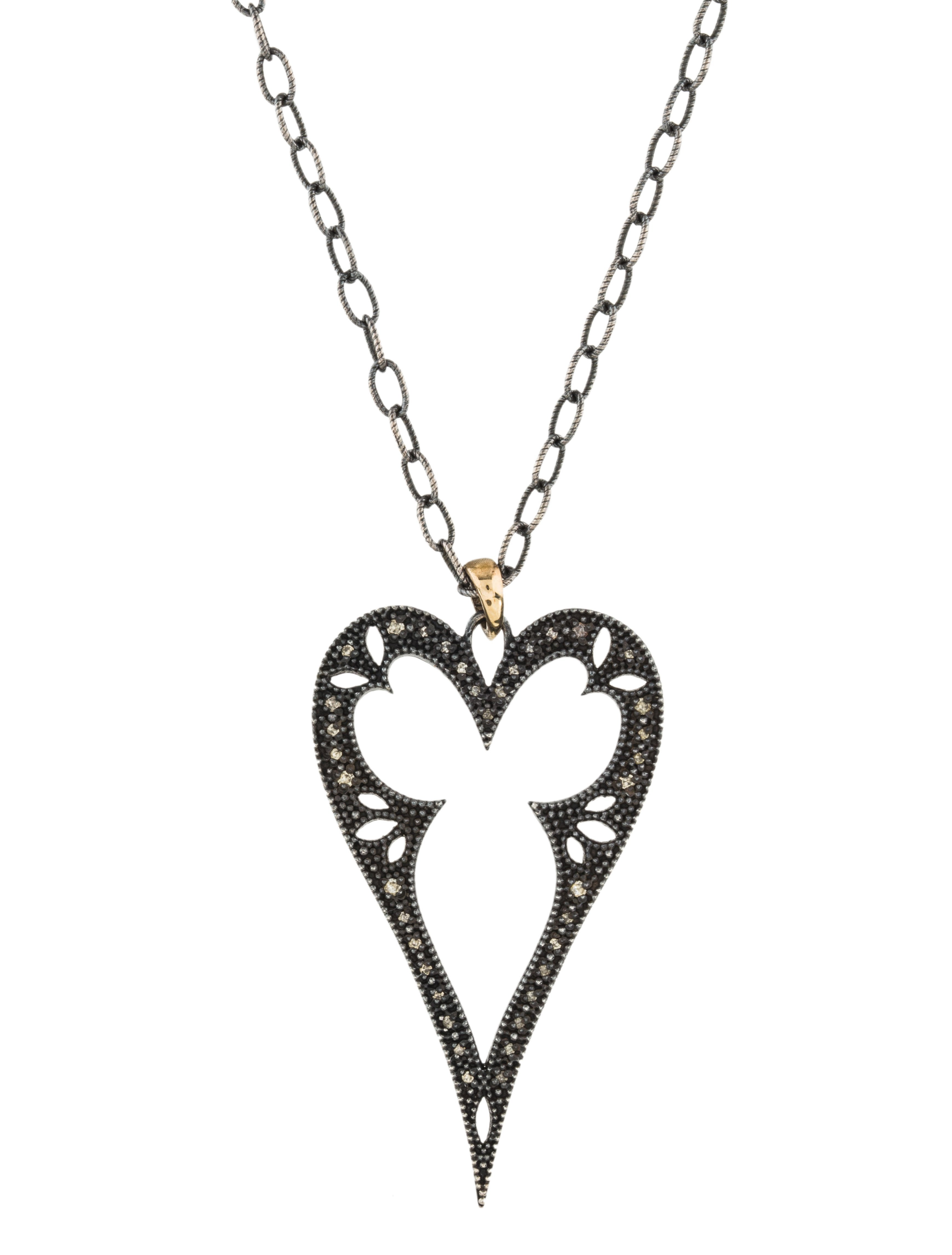 Mizuki Two-Tone Diamond Heart Frame Pendant Necklace - Necklaces ...