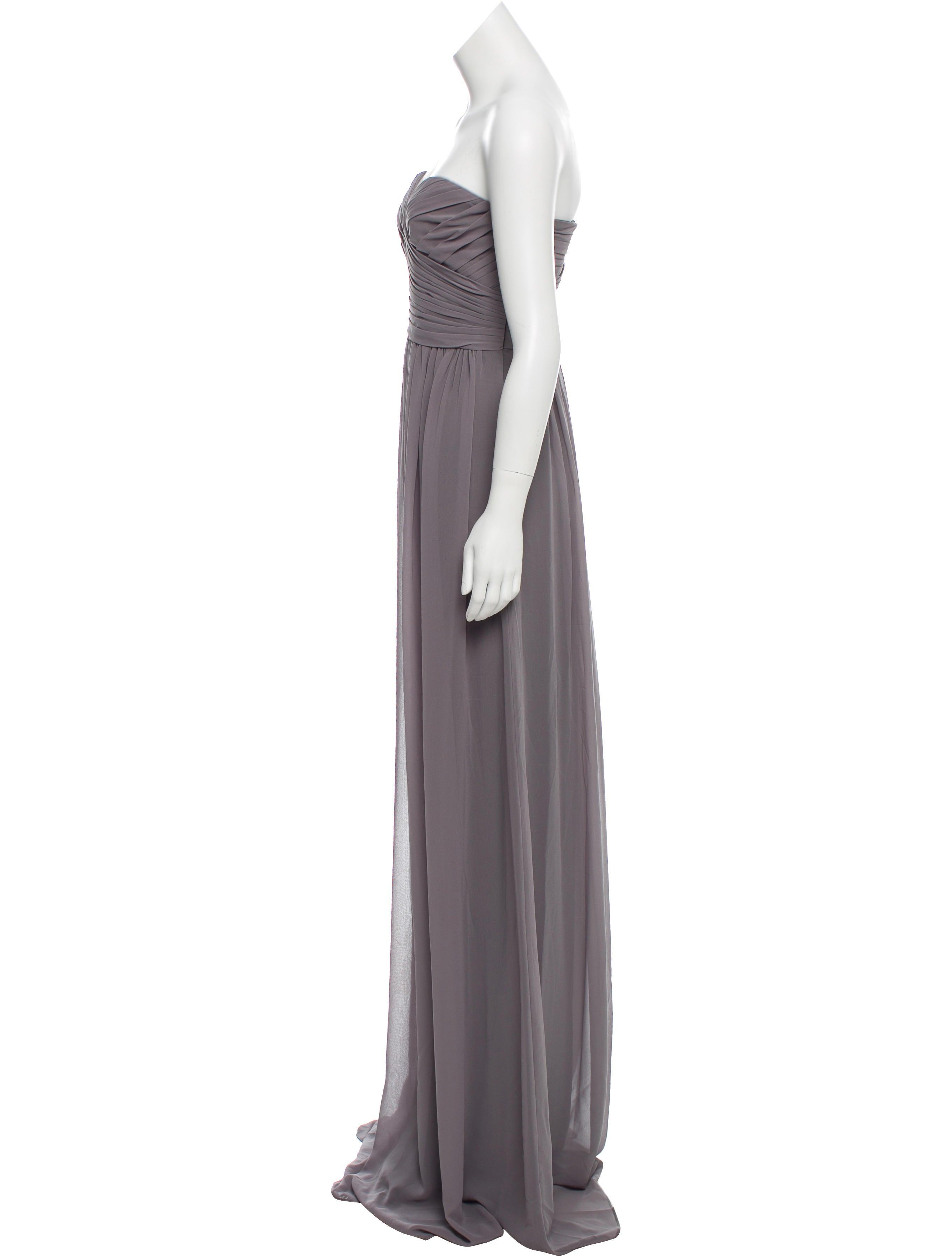Monique Lhuillier Bridesmaids Strapless Chiffon Evening Dress w ...