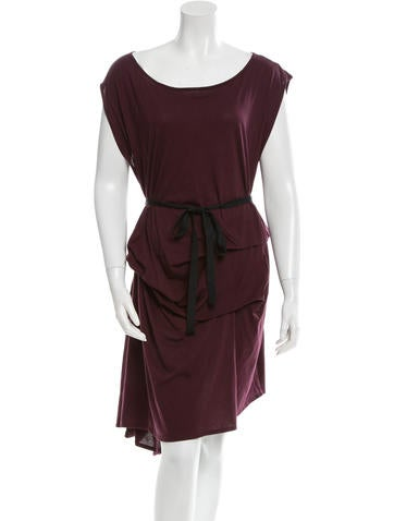 Morgane Le Fay Belted Ruched Dress Clothing Mlf20035