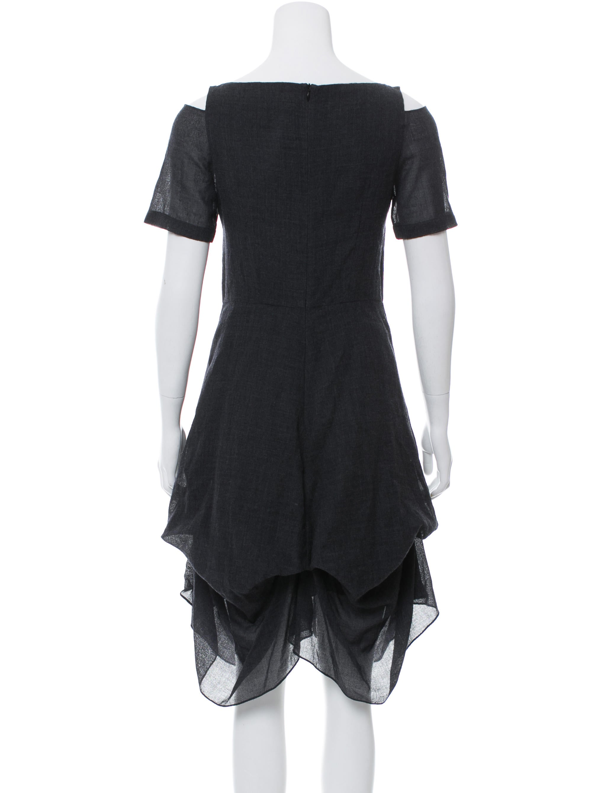 Morgane Le Fay Cold Shoulder Wool Dress Clothing