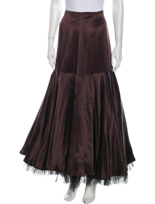 Morgane Le Fay Silk Long Skirt Brown