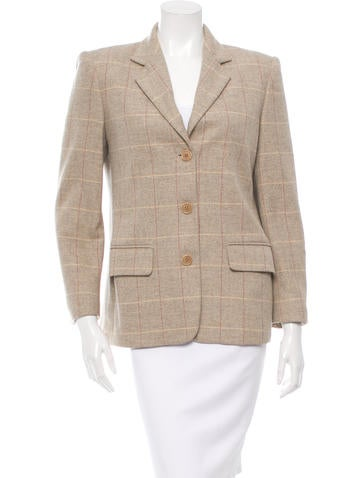 MaxMara Plaid Wool Blazer