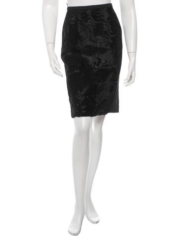 MaxMara Broadtail-Accented Pencil Skirt