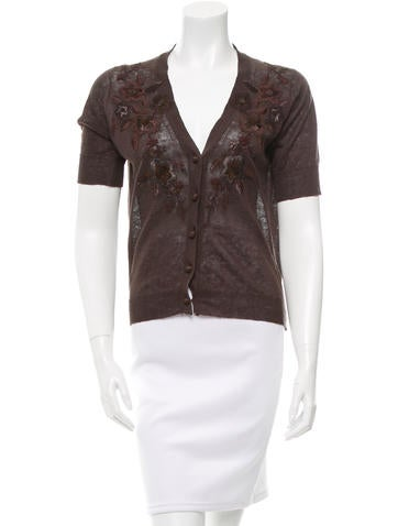 MaxMara Embroidered Short Sleeve Cardigan None