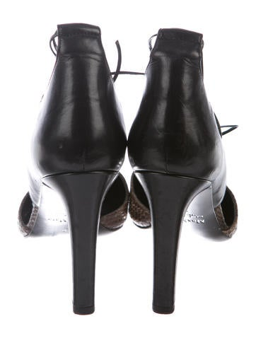 Embossed Lace-Up Pumps