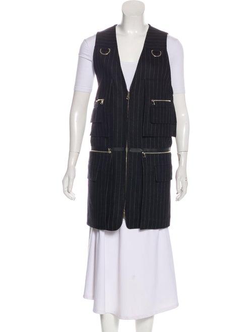 Max Mara Virgin Wool Striped Vest Black