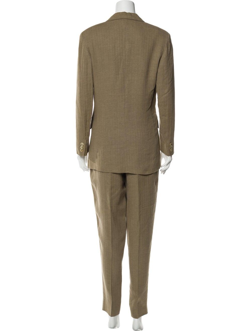Max Mara Linen Tweed Pattern Pant Set Brown - image 3