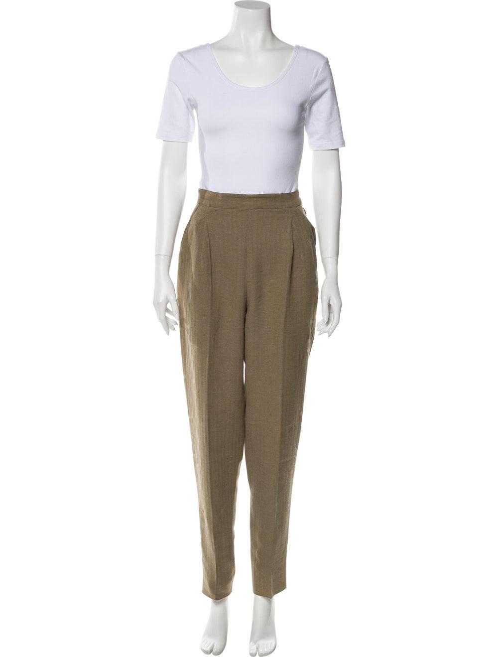 Max Mara Linen Tweed Pattern Pant Set Brown - image 4