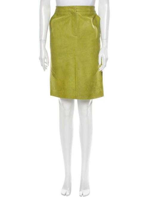 Max Mara Leather Knee-Length Skirt Green