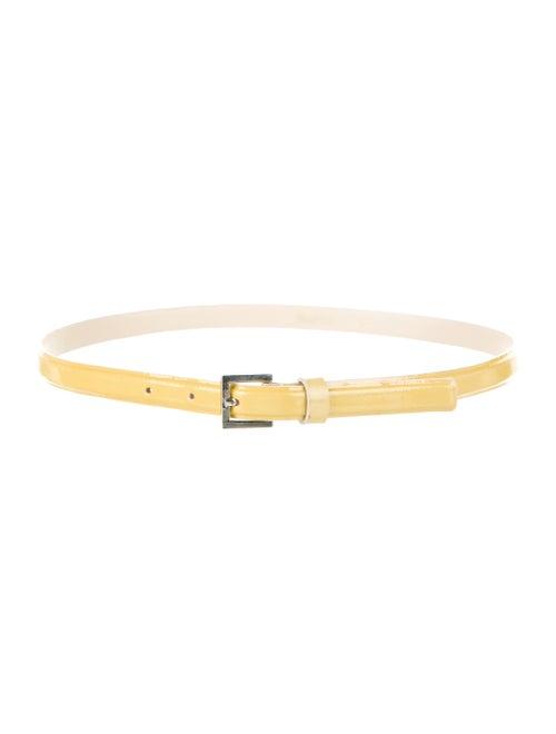 Max Mara Patent Leather Skinny Belt Yellow