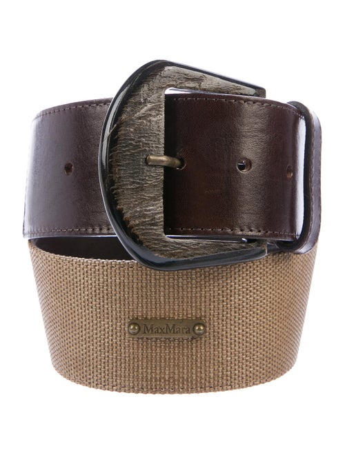 Max Mara Leather Waist Belt Brown