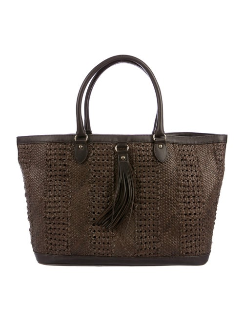 Max Mara Woven Leather Tote Brown