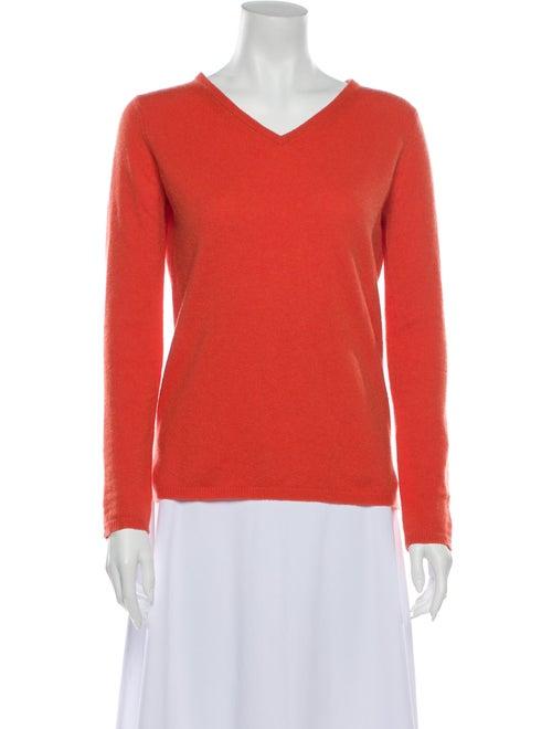 Max Mara Cashmere V-Neck Sweater Orange