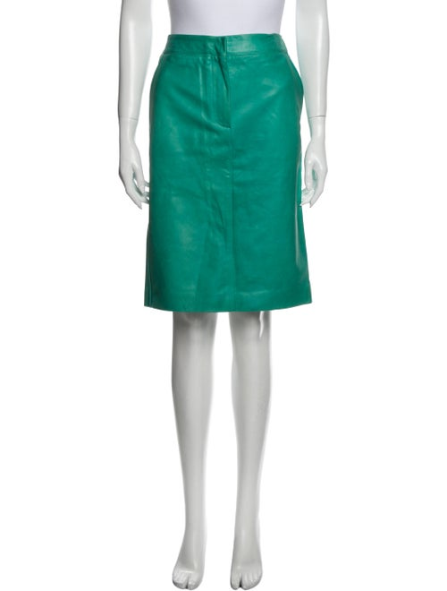 Max Mara Leather Knee-Length Skirt Green