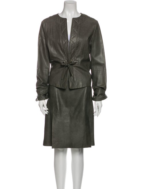 Max Mara Leather Pleated Accents Skirt Suit Green