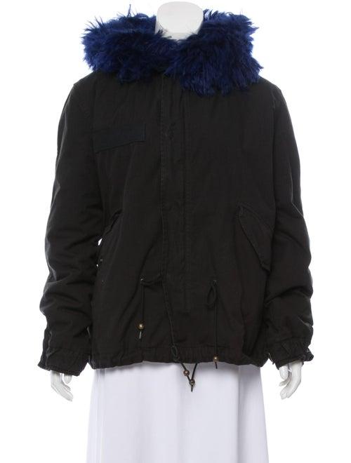 Mr & Mrs Italy Fur-Trimmed Hooded Jacket Black