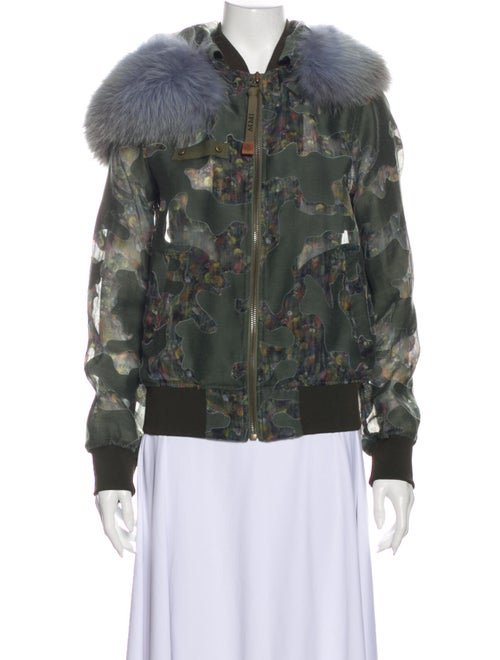 Mr & Mrs Italy Fur-Trimmed Hooded Jacket Printed B