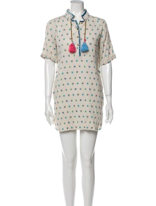 Manoush Printed Smocked Dress Beige