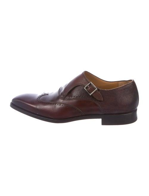Magnanni Leather Monk Strap Shoes cognac
