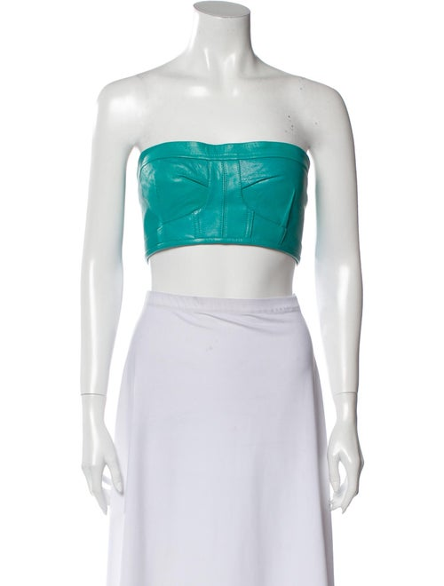 Manokhi Leather Strapless Crop Top Green