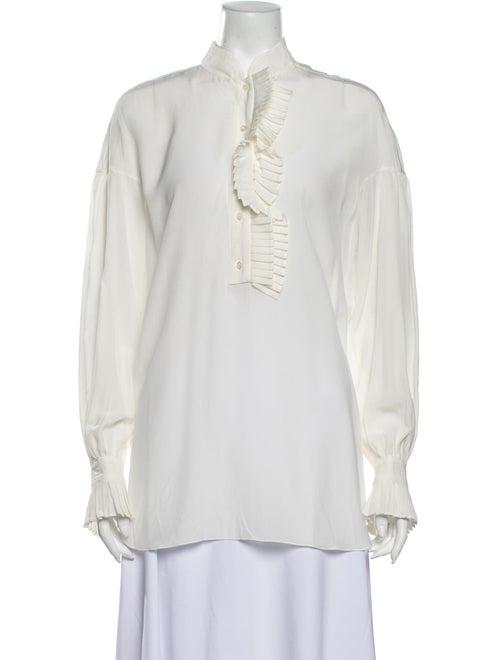 Mantu Silk V-Neck Blouse White