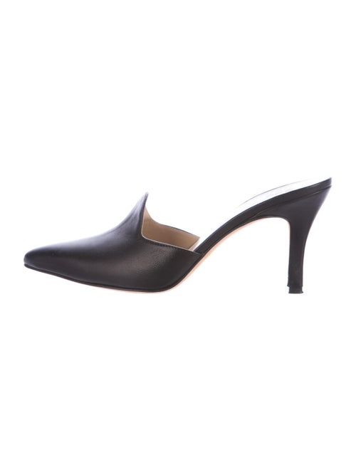 Maryam Nassir Zadeh Leather Pointed-Toe Mules Blac
