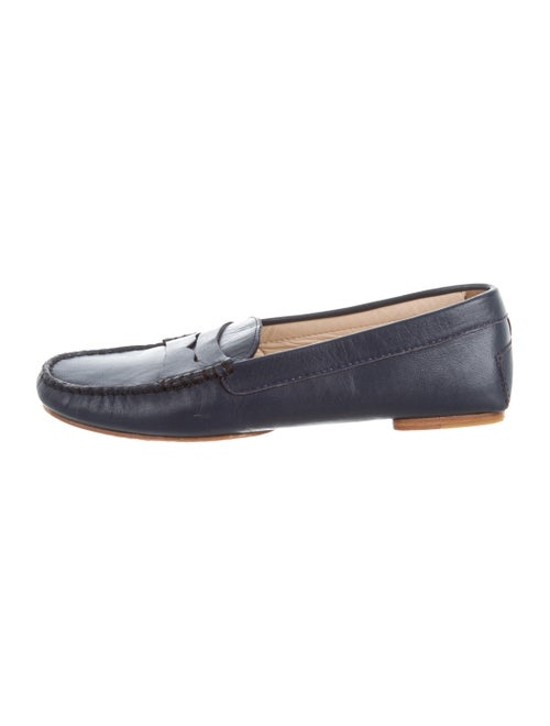 Maryam Nassir Zadeh Leather Penny Loafers Navy
