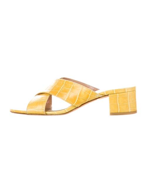 Maryam Nassir Zadeh Embossed Leather Slides Yellow