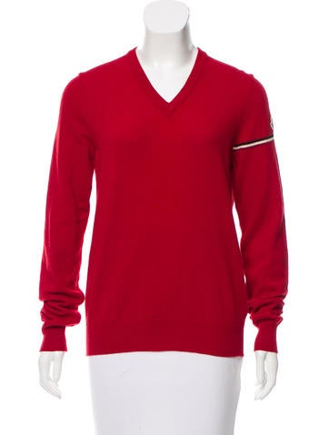 Moncler V-Neck Wool Sweater None