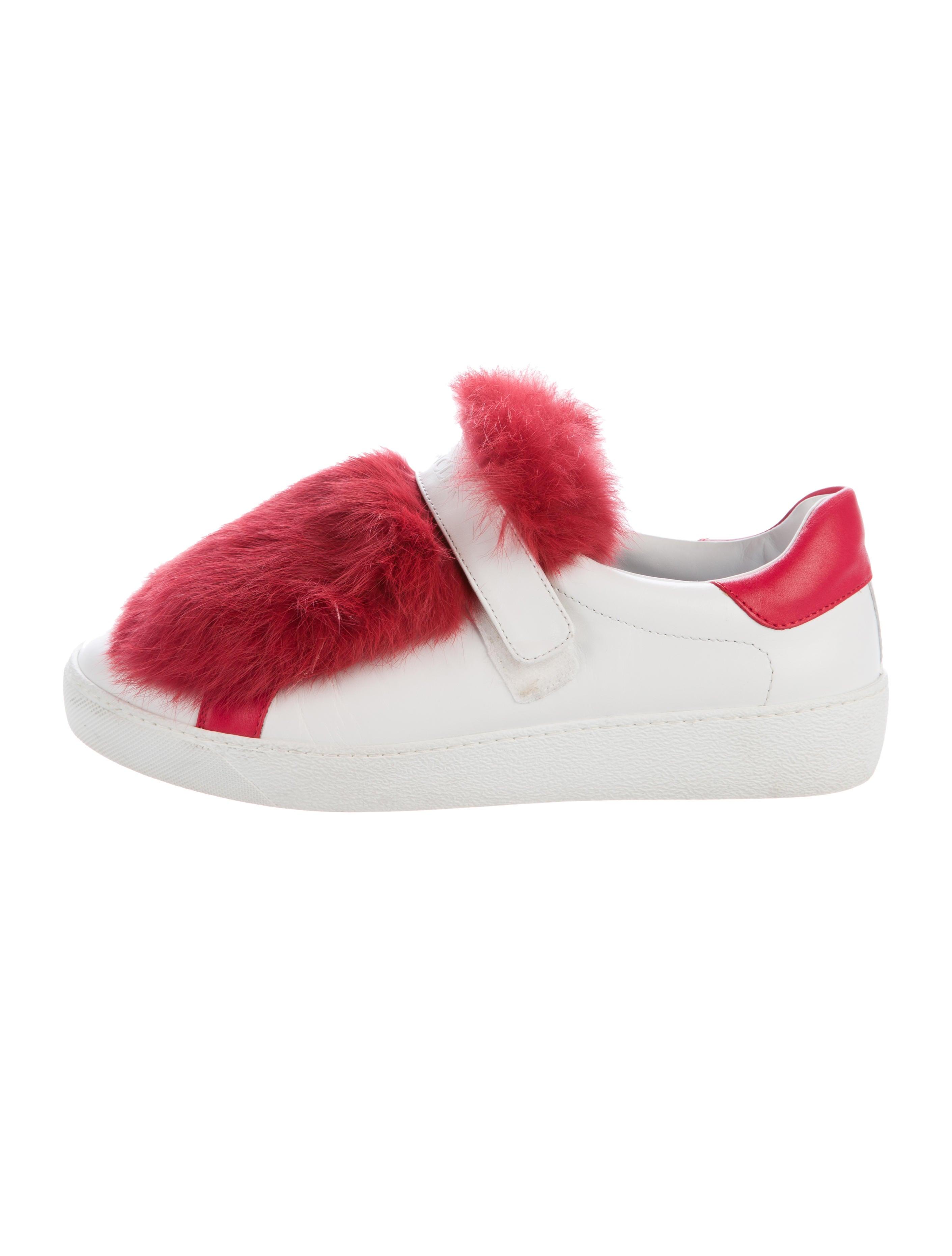 fe661f90a1dc Moncler Fur-Trimmed Low-Top Sneakers - Shoes - MOC24155