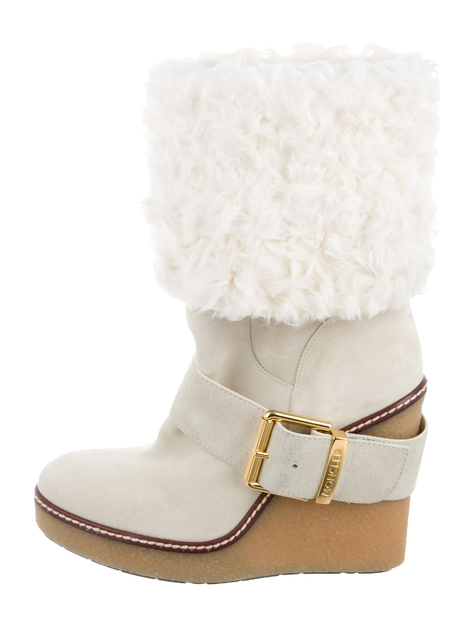 moncler suede shearling wedge boots shoes moc24734