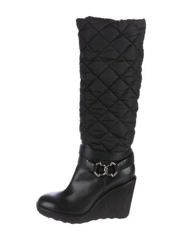 moncler quilted wedge boots shoes moc26465 the realreal