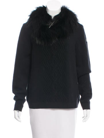 Moncler Fur-Trimmed Wool Sweater None