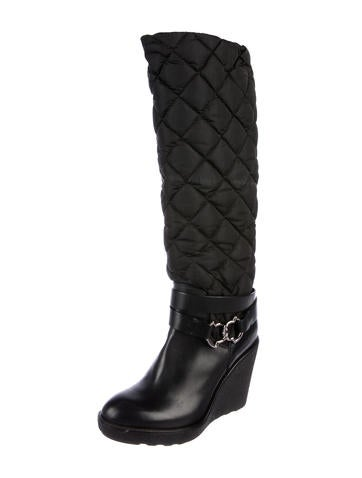 Quilted Wedge Boots