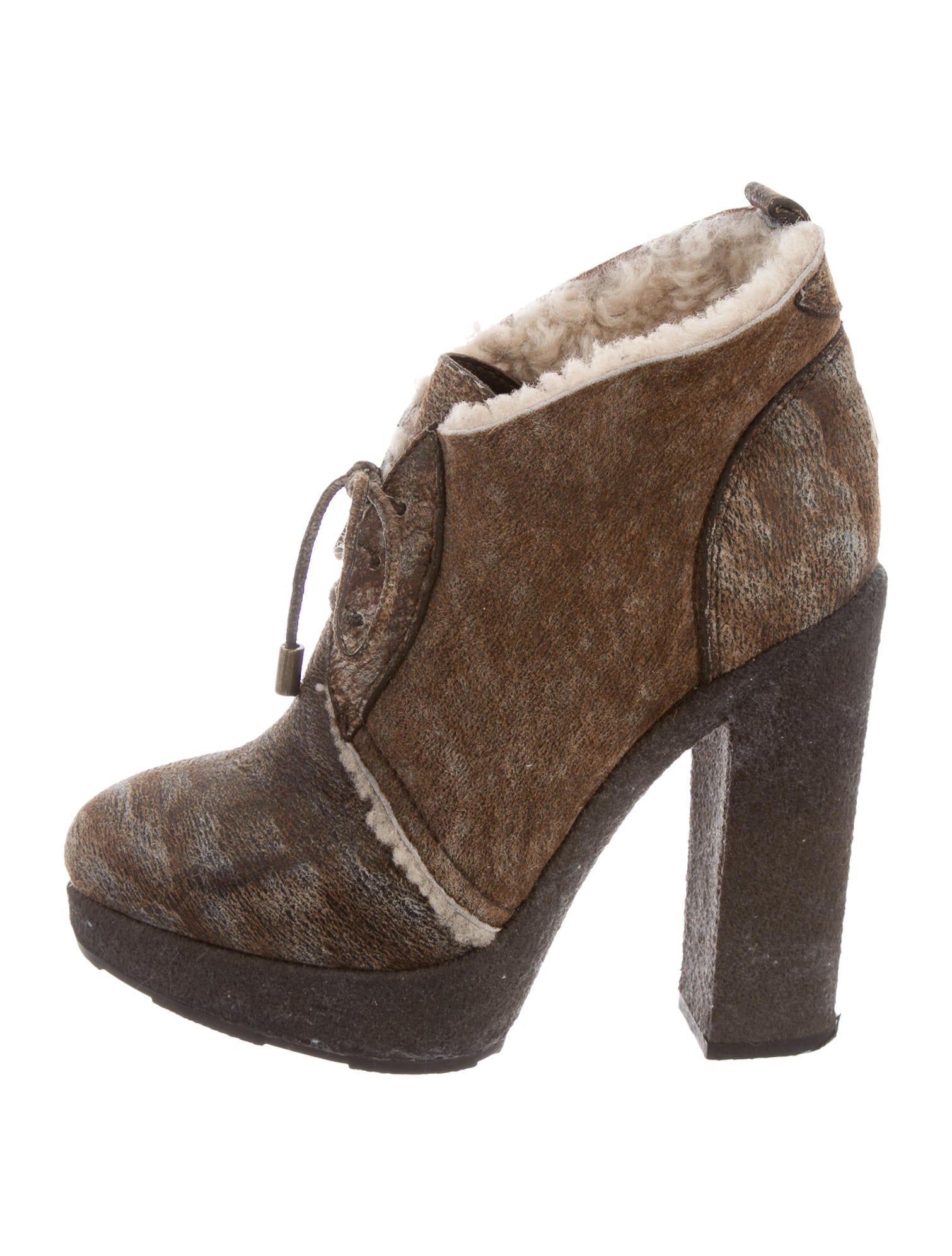 Moncler Shearling-Trimmed Platform Booties low shipping cheap online for sale online store EzkRK
