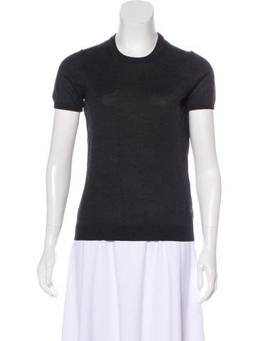 Moncler Wool Short Sleeve Sweater None