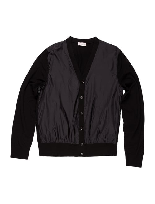 Moncler Virgin Wool Rib Knit Cardigan black