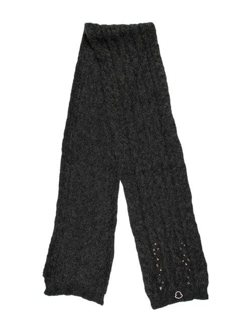 Moncler Embellished Knit Mohair Scarf Grey